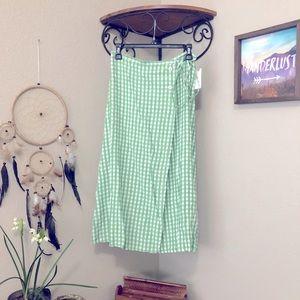 NWT Faithfull Anthropologie Wrap Midi Skirt gingham green white medium